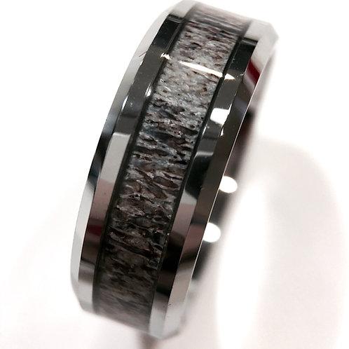 Real Elk Antler Ring, Antler Wedding Bands, Tungsten Rings 8mm