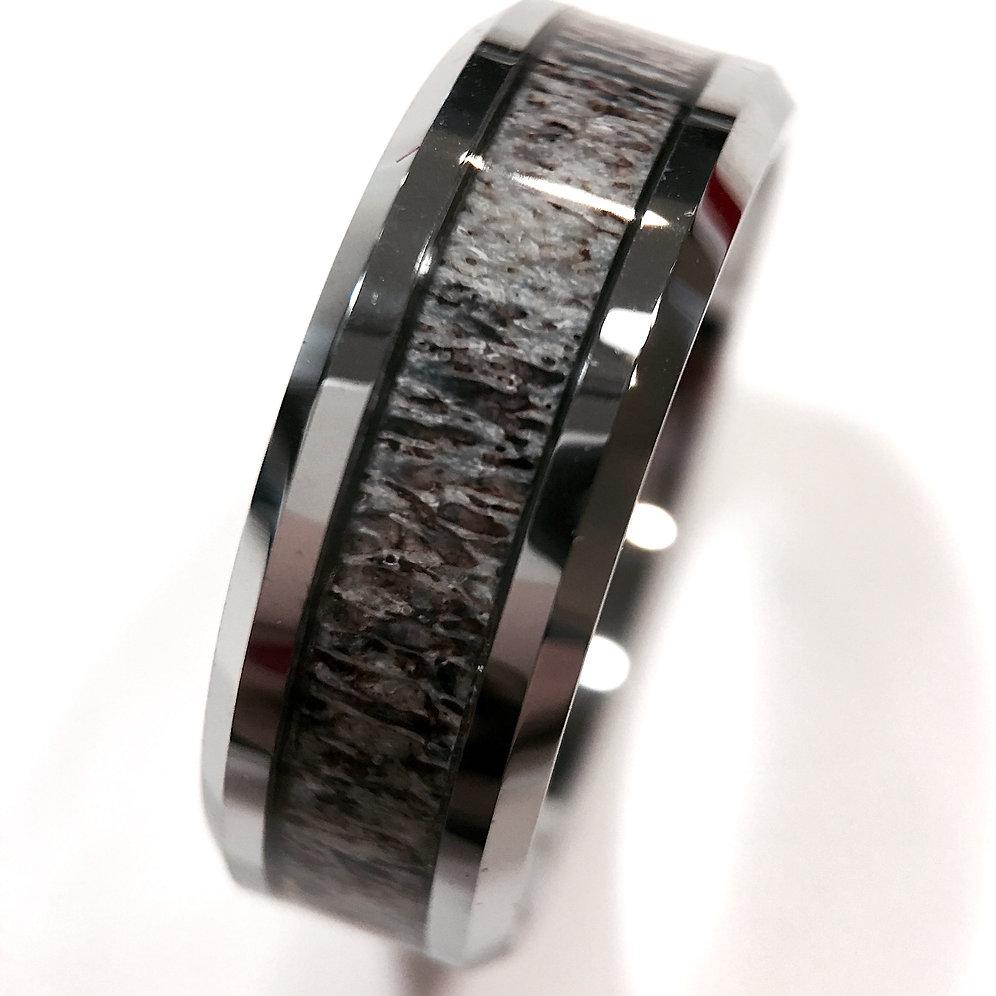 7801835e0a1a7 Real Elk Antler Ring, Antler Wedding Bands, Tungsten Rings 8mm