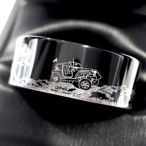 Jeep Car Pattern Engraved Black tungsten Ring, Groom Ring, Mens tungsten Ring , Mens Engagement Ring, Mens Wedding Gift