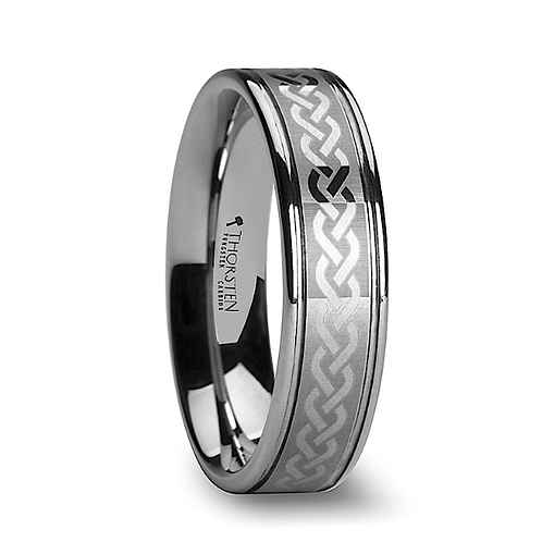 Tungsten Carbide Ring with Celtic Knot Pattern