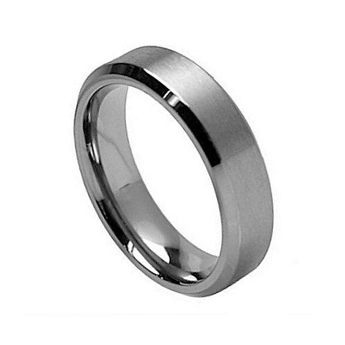 Titanium Ring  Brushed Center Beveled Edge - 7mm
