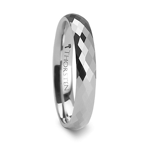 288 Diamond Faceted White Tungsten Carbide Ring