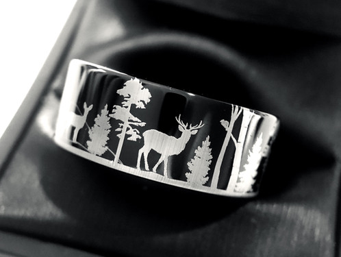 Elks In Forest Pattern Engraved Black Tungsten Ring Mens Wedding Band