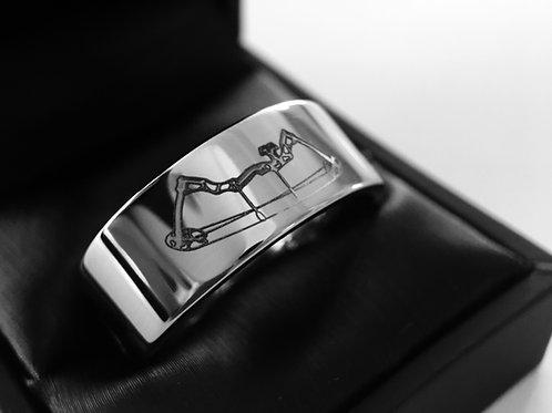 Archery Pattern Engraved Tungsten Ring, Mens tungsten Ring, Wedding Bands