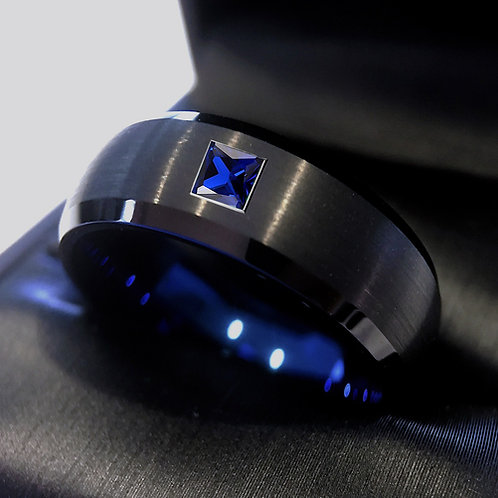 Mens Ring, Black and Blue Tungsten Ring with Square Sapphire Stone Setting 8mm