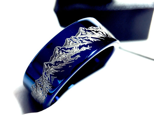 Mens Wedding Bands, Mens Tungsten Ring, Blue Ring,  Mountains Range Engraved Ring, Engagement  Ring by Rings Paradise