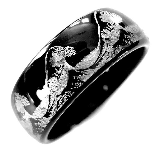 Mens Wedding Bands, Ocean Ring, Wave Ring, Mens Black Tungsten Wedding Band, Engagement Rings, His and Her Promise Rings