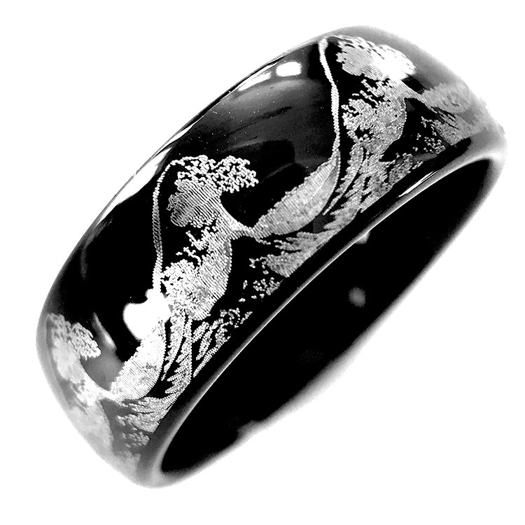 Mens Wedding Band Ocean Ring Wave Ring Men Women Black
