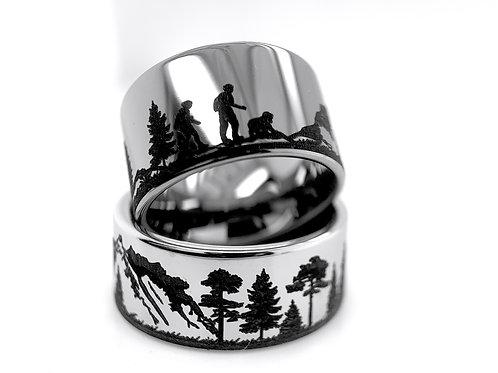 Mens Ring, Wedding Ring Wedding Bands, Tungsten Carbide Ring, Engagement Ring, Mountains Ring, Hiking Ring, Custom Made Ring