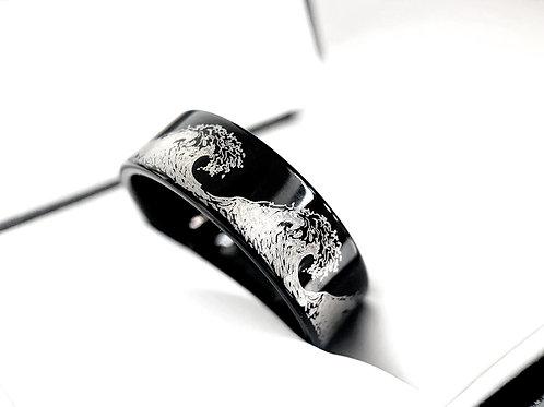 Ocean Wave Engraved Black Ring, Tungsten Ring, Mens Ring, Women Ring, Engagement