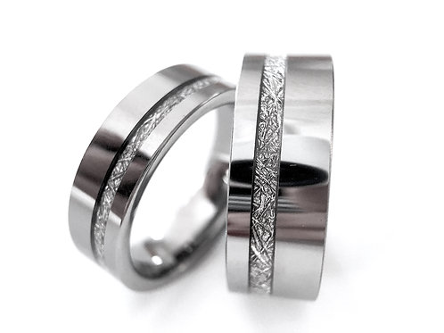 Matching Wedding Bands, White Meteorite Rings, Tungsten Wedding Band