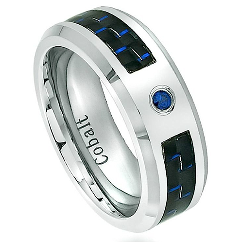 Cobalt Ring with Blue Sapphire Stone 6mm