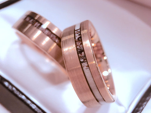 Antler Ring, Rose Gold Rings, Wedding rings Set, tungsten Carbide Ring, Mens Wedding Bands, Women tungsten Wedding Band, Ring