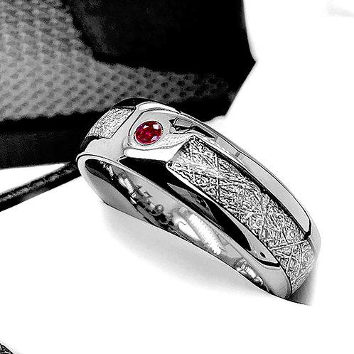 Meteorite Ring, Ruby Stone Ring, Wedding Band, Engagement Ring
