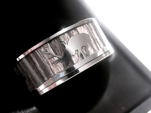 Mens Engagement Ring Antler And Wood Wedding Band Anniversary Ring 9mm