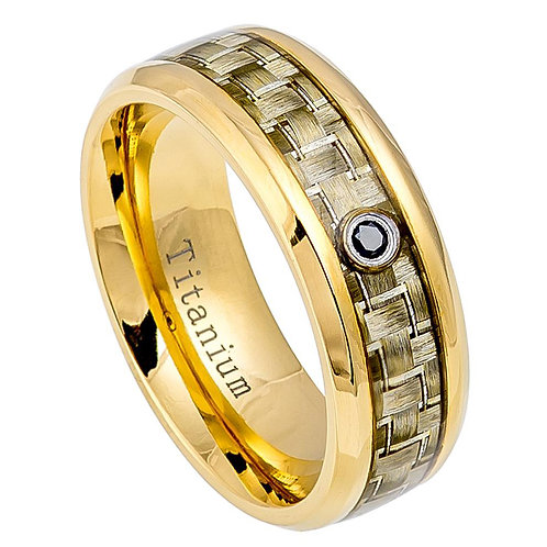 Yello Gold IP Titanium Ring & Golden Fiber Inlay