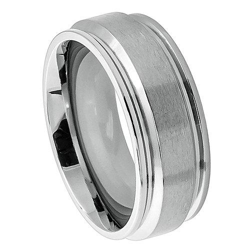Titanium Ring Raised Brushed Center 8mm