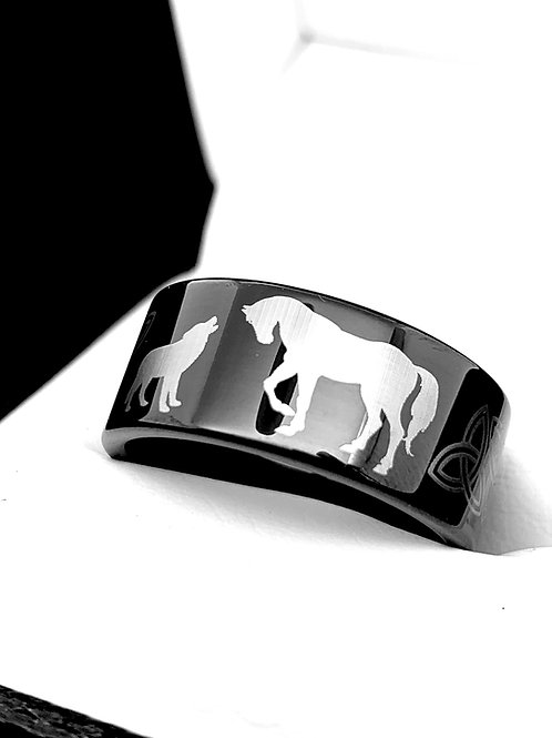 Hors and Wolf Engrave Black Tungsten Ring, Mens Ring, Rings for Women