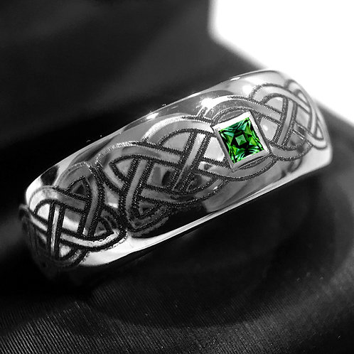 Celtic Ring, Emerald Ring, Mens Ring, Mens Wedding bands, Square Stone Ring, Engagement Ring, Promise Ring, Wedding Ring