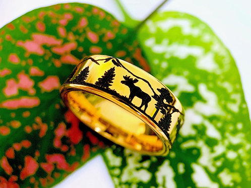 Bears and Elks in Forest Pattern Engraved Yellow Gold Tungsten Ring Wedding Band