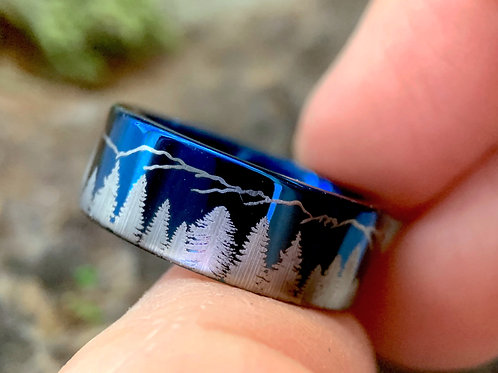 Fir Trees and Mountains Pattern Engraved Blue tungsten Carbide Ring, His and Her