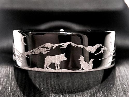 Wolf Facing Fox Black Tungsten Ring, Wedding Band, Custom Made Wedding Bands