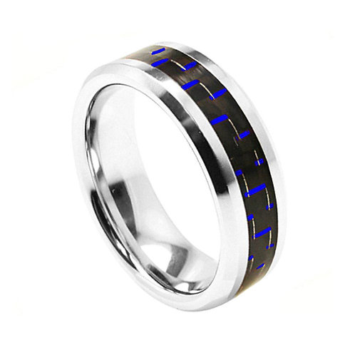 Cobalt Ring with Blue Carbon Fiber Inlay 8mm
