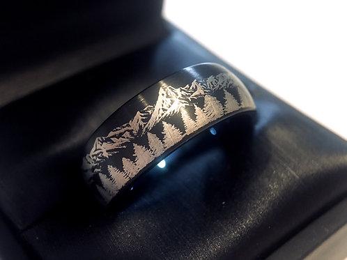 Rings Paradise, Mountains Ring, Fir threes ring, Wedding Ring, Wedding bands, engagement ring, promise ring, man wedding band