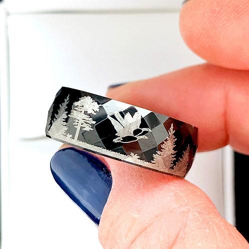 Flying Ducks Engraved Black Hammered Tungsten Ring, Mens Ring, Women Ring