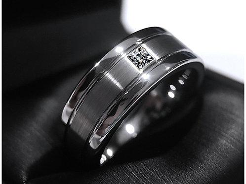 Mens Wedding Band, White Princess Cut Square Diamond Stone Tungsten Carbide Ring