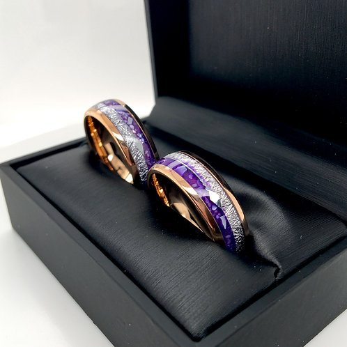 Matching Rings Set, Rose Gold Tungsten Purple Agate Meteorite Ring, Arrow Inlay