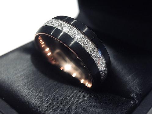Black Meteorite Ring, Tungsten Carbide Ring 8mm