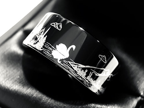Custom Made  Wedding Bands, Swan in the Lake, Elks in the Forest, Flying Ducks Pattern Engraved Black Tungsten Ring  by Rings