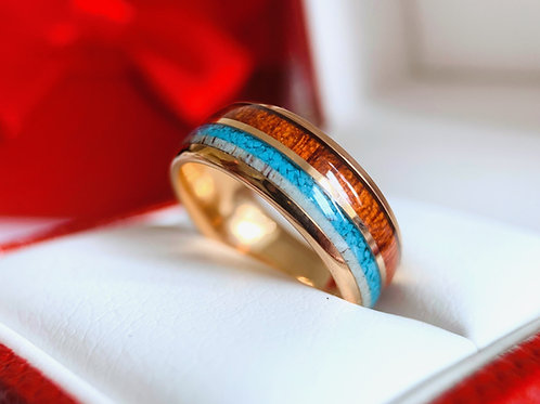 Wedding Bands, Engagement Ring, Mens ring, Women Ring, Antler, Wood, Turquoise Jewelry, His Her Promise Ring, Rose Gold Ring,