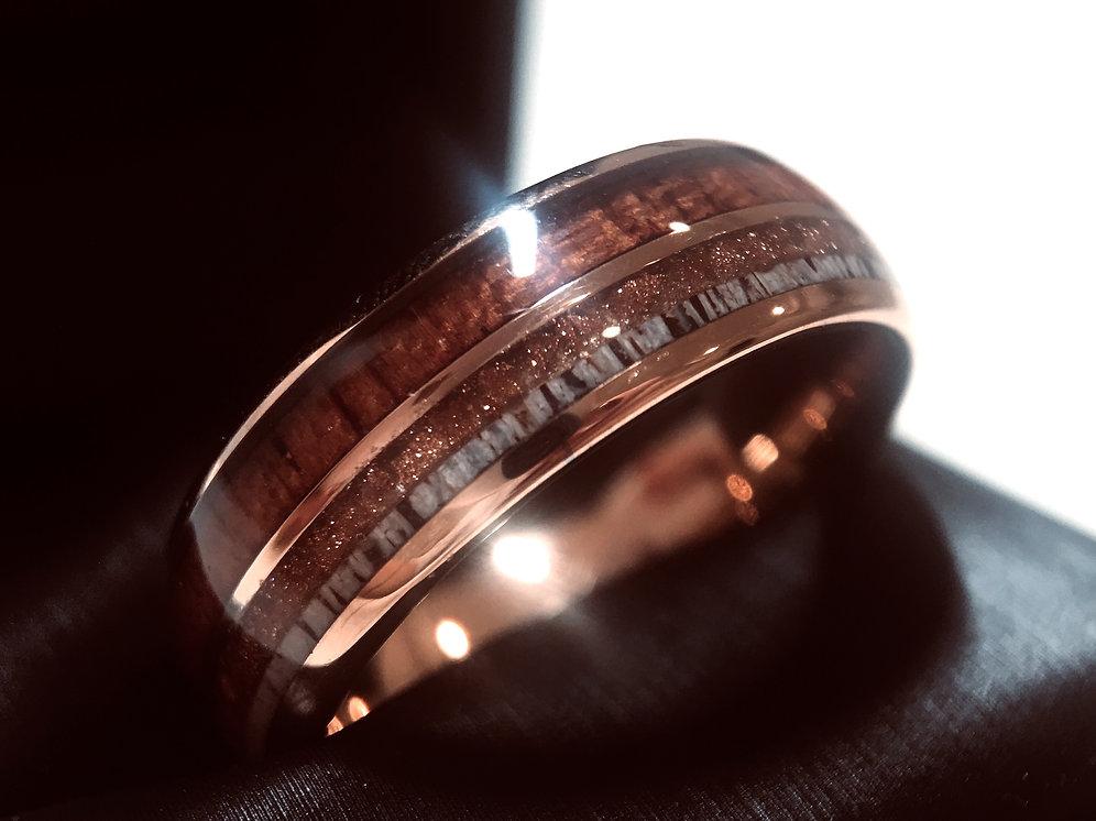 390fb119d0597 Rose Gold Tungsten Ring, Mens, Women Wedding Band Wood, Antler, Sandstone  8mm