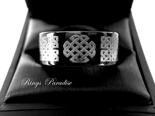 Black Celtic Ring, Celtic Love  Rings, Irish Ring, Men's, Women Celtic Knot Ring