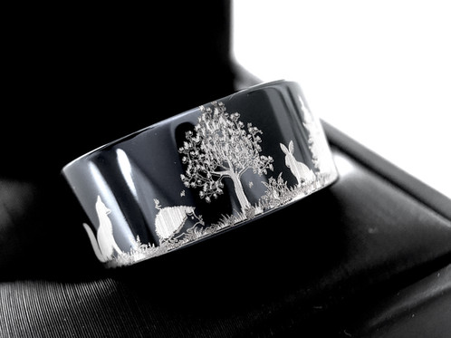 Hedgehog Hare Fox And Wolf In Forest Pattern Engraved Tungsten Wedding Bands Black