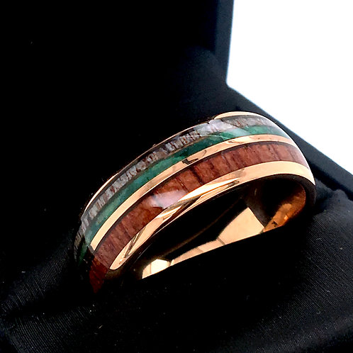 Rose Gold Tungsten Ring, Mens, Women Wedding Bands Wood, Antler Green Crystals