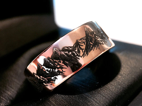 Rose Gold Tungsten Ring, Mountains Range Engraved Mens and Women Wedding Band