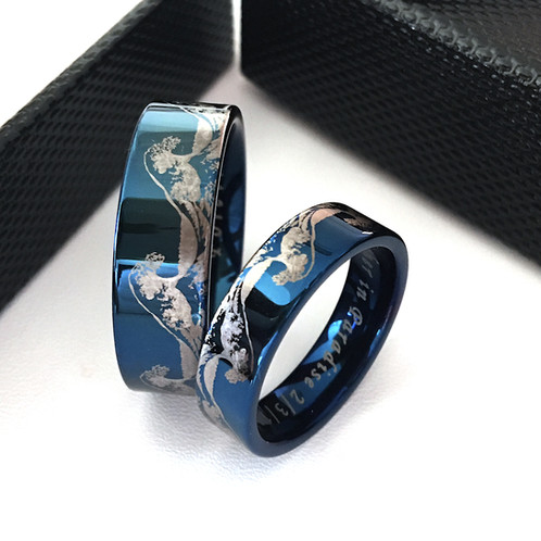 Matching Rings Set Tungsten Wedding Band Wave Ring Ocean Mens