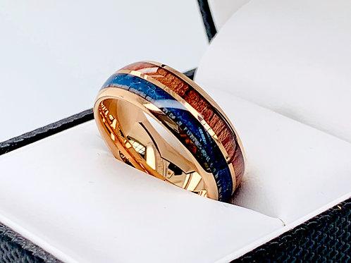 Blue Agate Antler & Wood Ring, Mens Wedding Bands, Women Ring Rose Gold Tungsten
