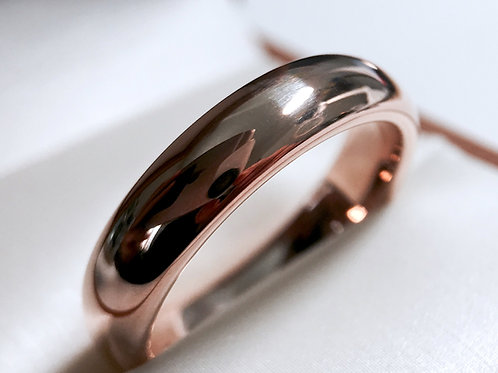Rose Gold Domed Tungsten Wedding Band, His and Her Promise Ring 5mm, 7mm