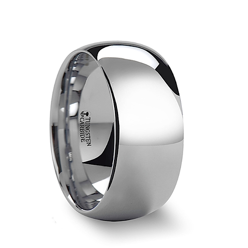 Rounded White Tungsten Carbide Ring 10mm