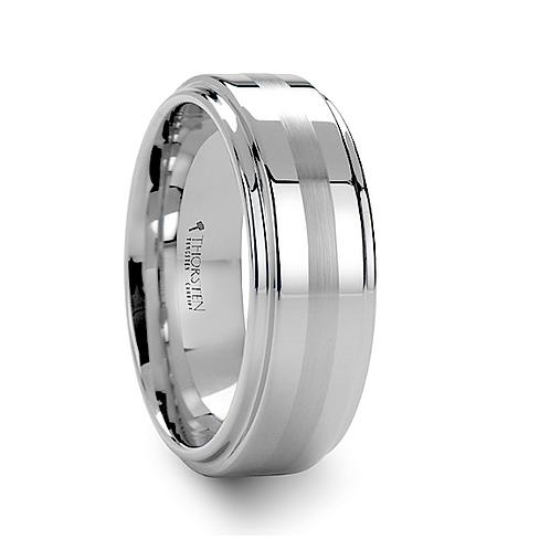 Brushed Stripe White Tungsten Carbide Ring 8mm