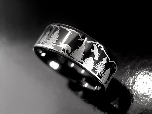 Ravens in Forest pattern Engrave Black Tungsten Ring, Mens Ring, Women Ring