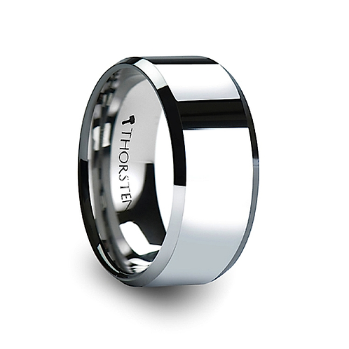 Beveled Tungsten Carbide Engagement Ring 10 mm