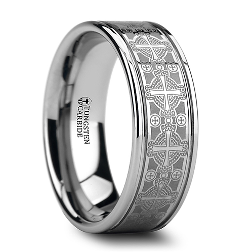 Tungsten Ring Engraved Intricate Cross Pattern 8mm