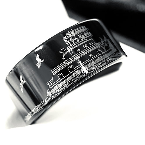 Towboat on the Mississippi River Custom Engraved Black Tungsten Ring, Me
