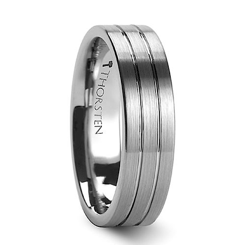 Pipe Cut Brushed Tungsten Ring with Grooves 6-8mm