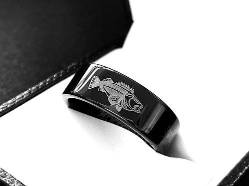 Fish Ring, Mens Wedding Band, Bass Fish Custom Laser Engraved Ring